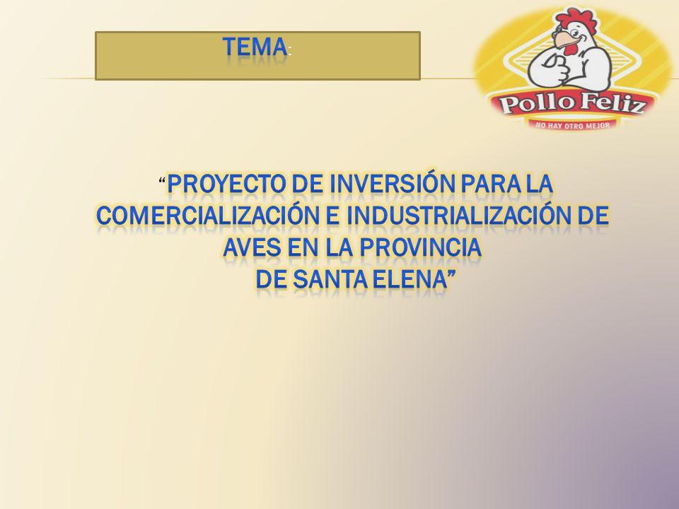 TEMA: PROYECTO DE INVERSIÓN PARA LA COMERCIALIZACIÓN E INDUSTRIALIZACIÓN DE AVES EN LA PROVINCIA. DE SANTA ELENA