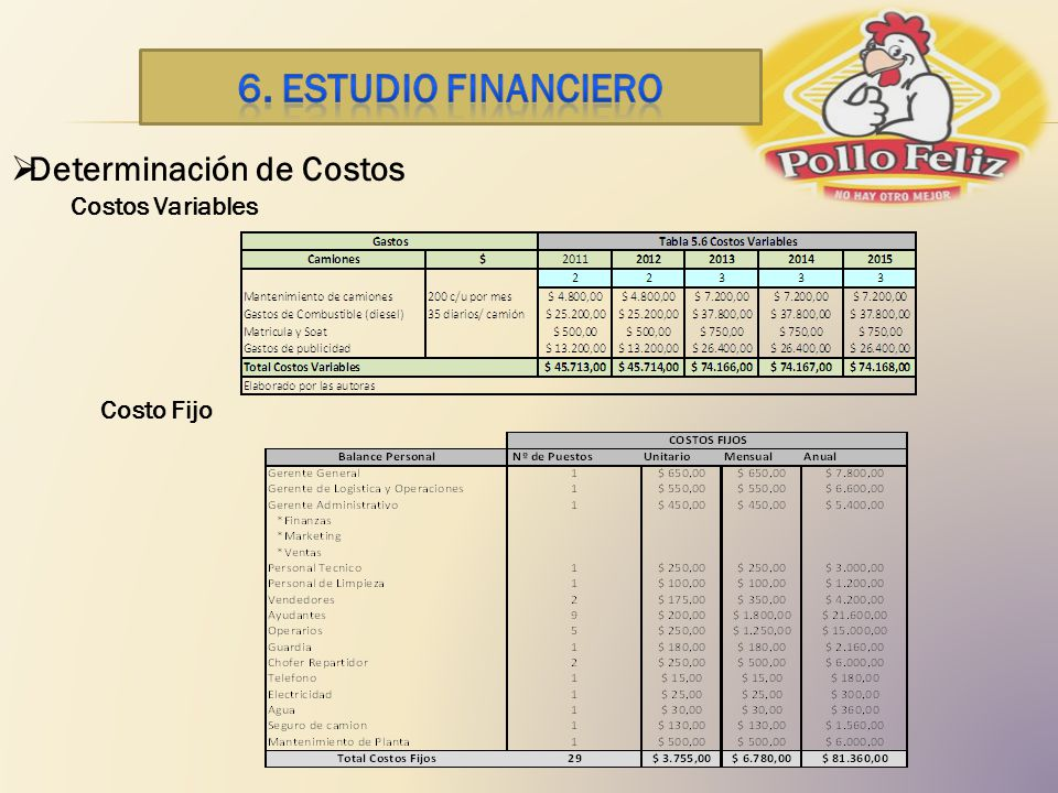 6. ESTUDIO financiero Determinación de Costos Costos Variables