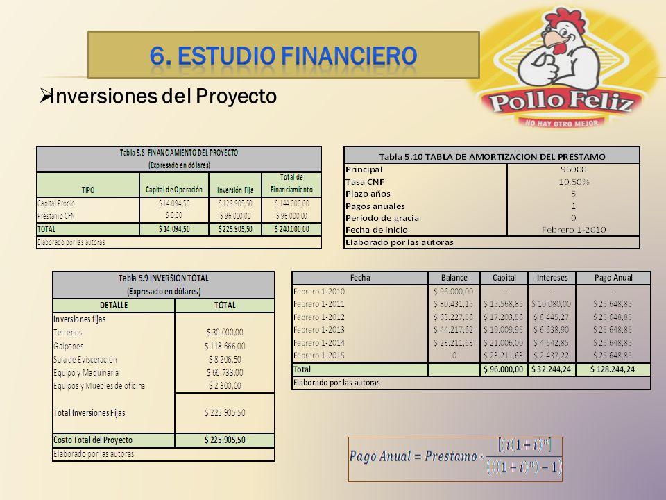 6. ESTUDIO financiero Inversiones del Proyecto