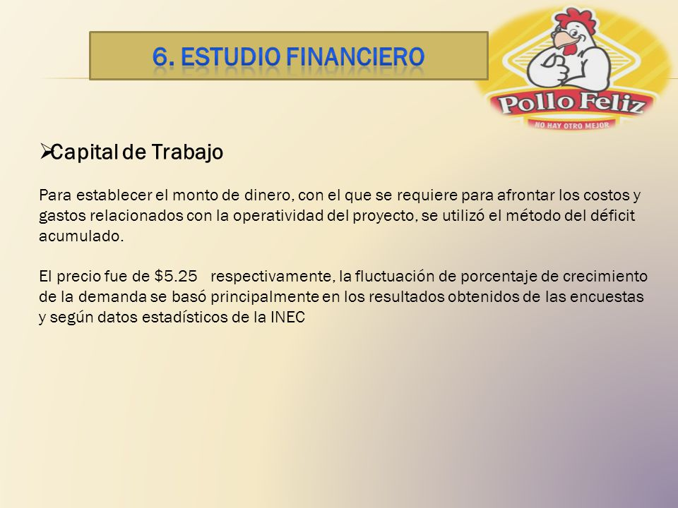 6. ESTUDIO financiero Capital de Trabajo