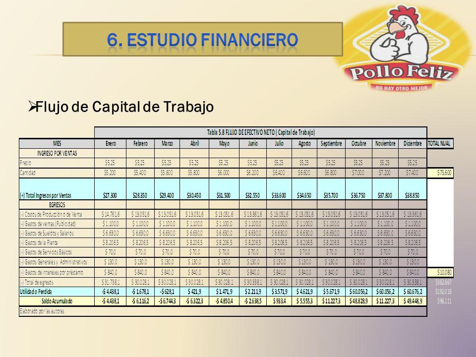 6. ESTUDIO financiero Flujo de Capital de Trabajo