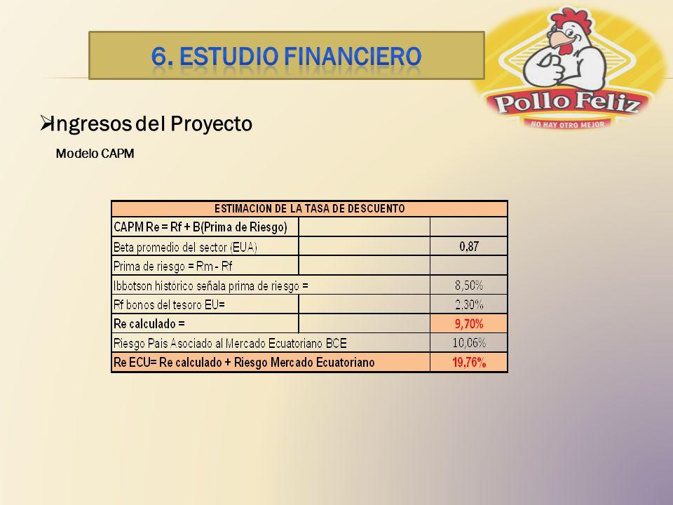 6. ESTUDIO financiero Ingresos del Proyecto Modelo CAPM