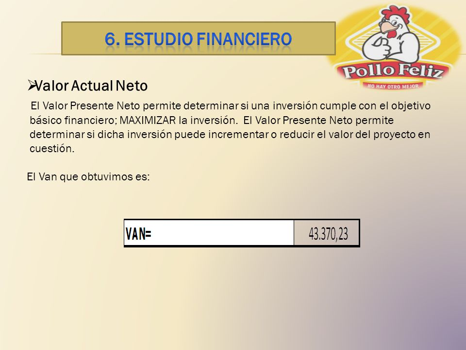 6. ESTUDIO financiero Valor Actual Neto