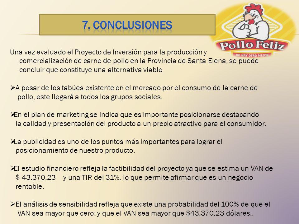7. CONCLUSIONES Una vez evaluado el Proyecto de Inversión para la producción y.