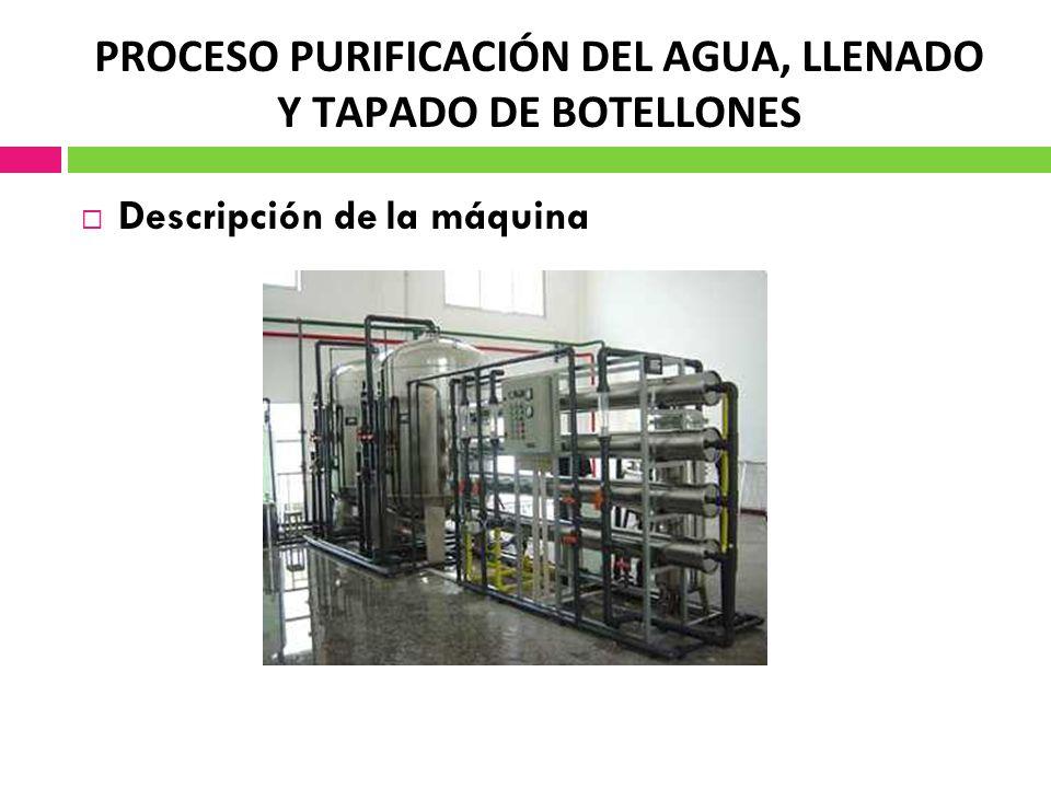 PROCESO PURIFICACIÓN DEL AGUA, LLENADO Y TAPADO DE BOTELLONES