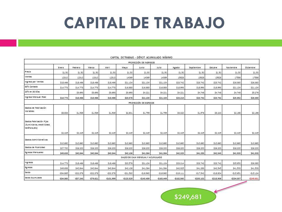 CAPITAL DE TRABAJO CAPITAL DE TRABAJO - DÉFICIT ACUMULADO MÁXIMO. PROYECCIÓN DE INGRESOS. Enero.
