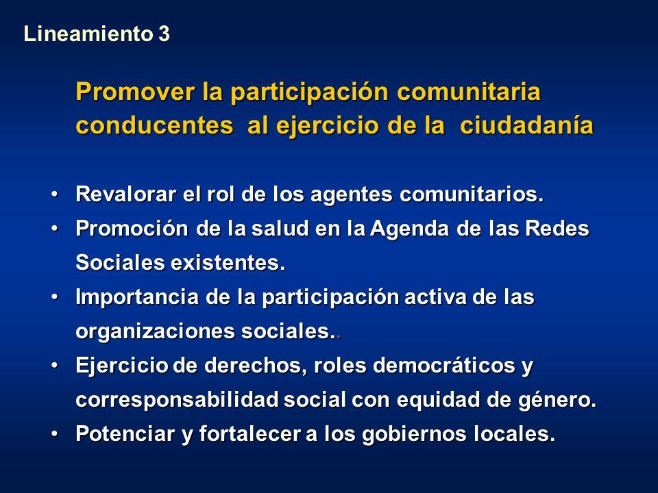 Lineamiento 3 Promover la participación comunitaria conducentes al ejercicio de la ciudadanía. Revalorar el rol de los agentes comunitarios.