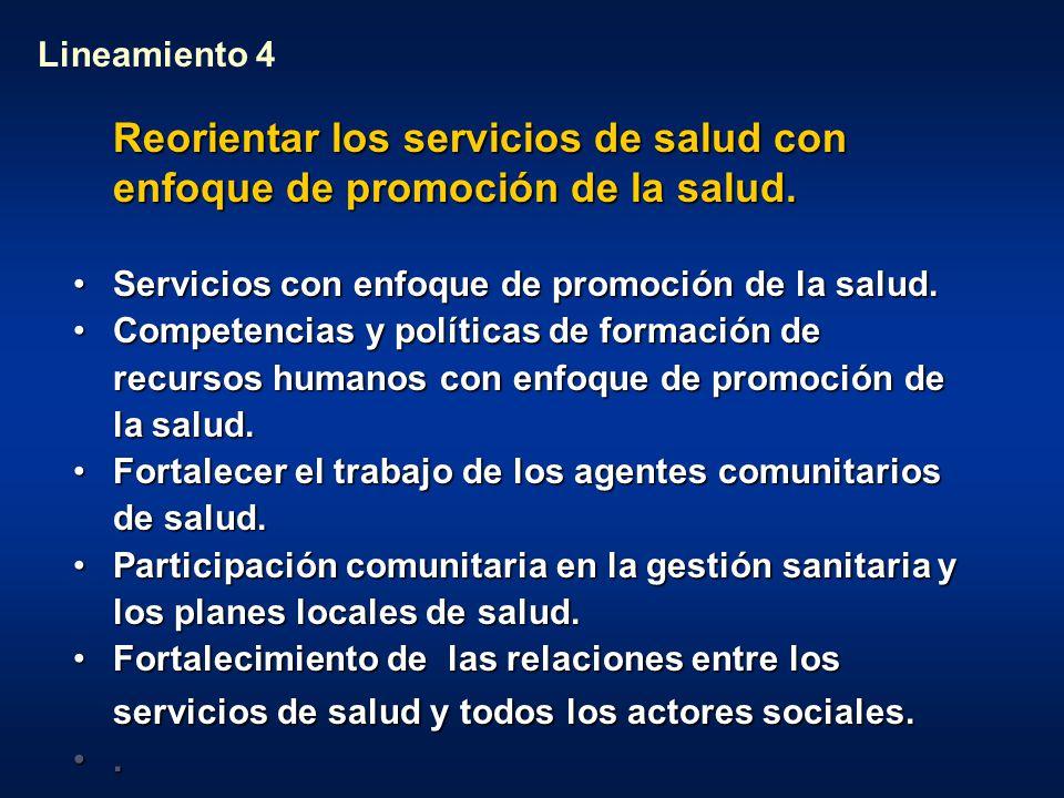 Lineamiento 4 Reorientar los servicios de salud con enfoque de promoción de la salud. Servicios con enfoque de promoción de la salud.