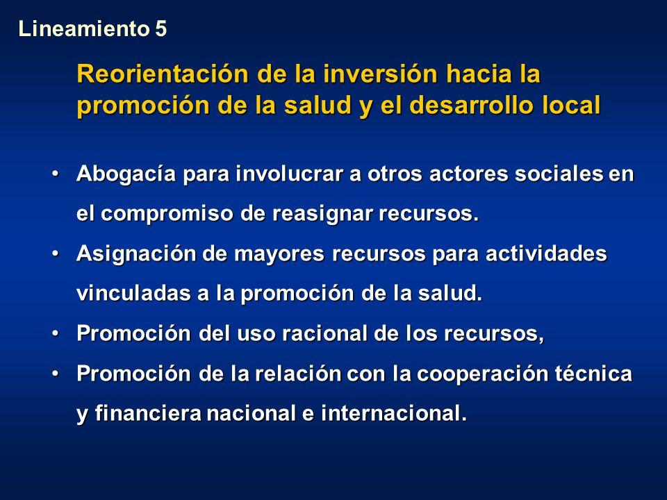 Lineamiento 5 Reorientación de la inversión hacia la promoción de la salud y el desarrollo local.