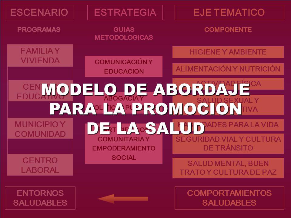 MODELO DE ABORDAJE PARA LA PROMOCION DE LA SALUD