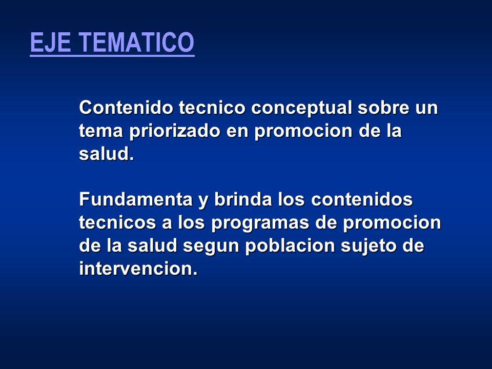 EJE TEMATICO Contenido tecnico conceptual sobre un tema priorizado en promocion de la salud.