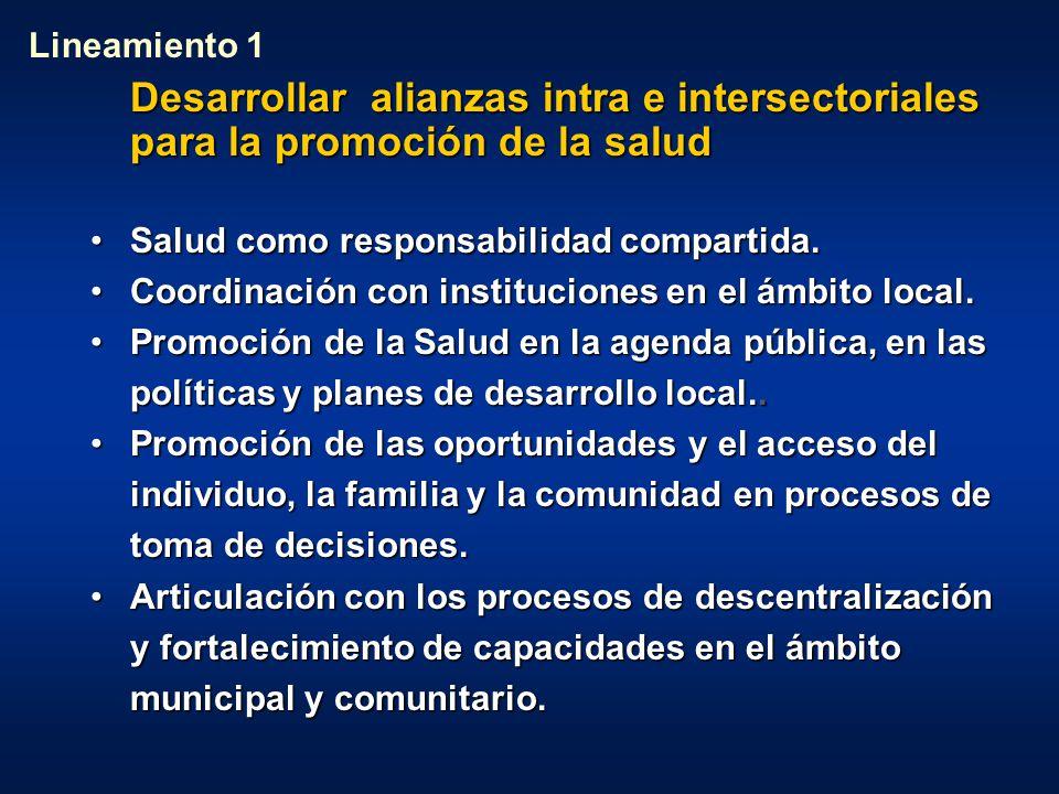 Lineamiento 1 Desarrollar alianzas intra e intersectoriales para la promoción de la salud. Salud como responsabilidad compartida.