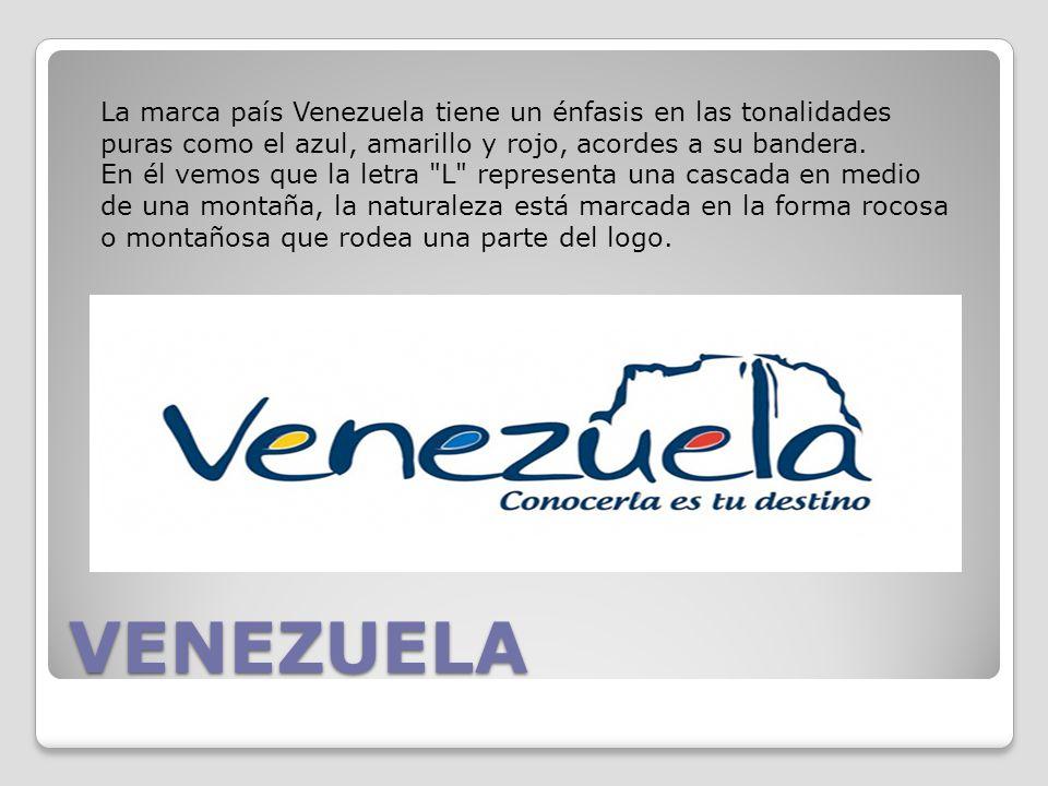 La marca país Venezuela tiene un énfasis en las tonalidades puras como el azul, amarillo y rojo, acordes a su bandera.