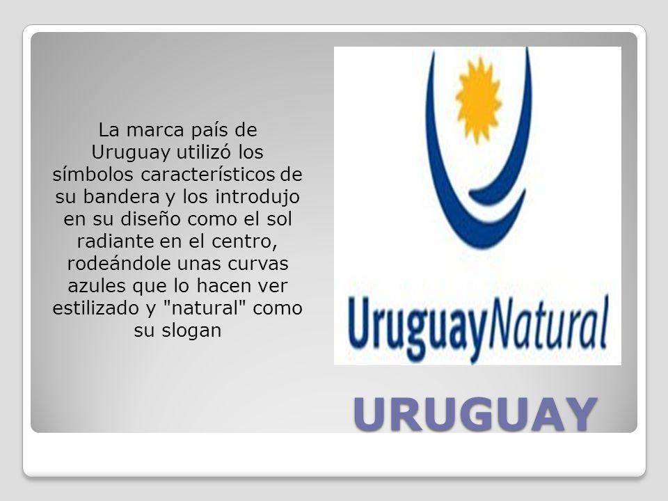 La marca país de Uruguay utilizó los símbolos característicos de su bandera y los introdujo en su diseño como el sol radiante en el centro, rodeándole unas curvas azules que lo hacen ver estilizado y natural como su slogan
