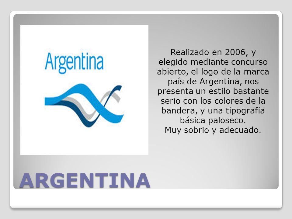 Realizado en 2006, y elegido mediante concurso abierto, el logo de la marca país de Argentina, nos presenta un estilo bastante serio con los colores de la bandera, y una tipografía básica paloseco.