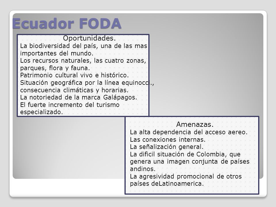 Ecuador FODA Oportunidades. Amenazas.