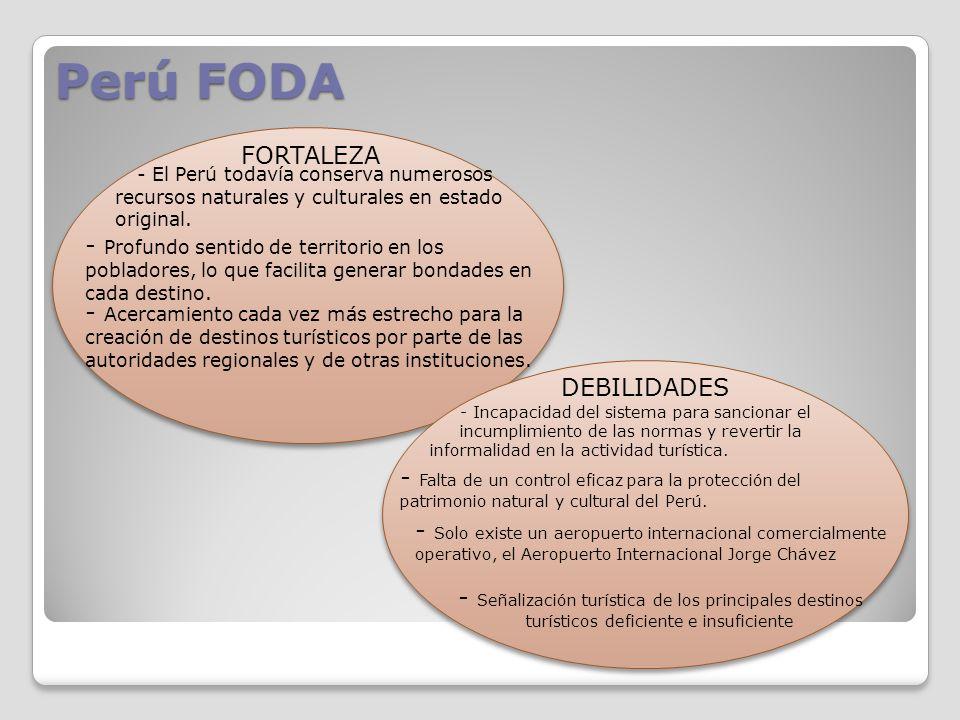 Perú FODA FORTALEZA. - El Perú todavía conserva numerosos. recursos naturales y culturales en estado original.