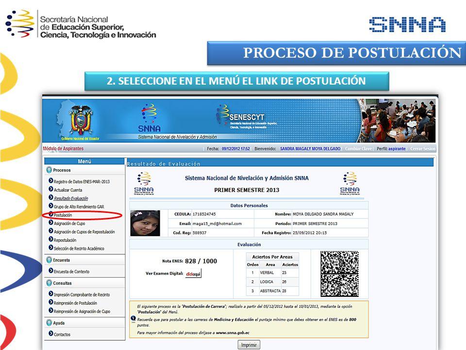2. SELECCIONE EN EL MENÚ EL LINK DE POSTULACIÓN