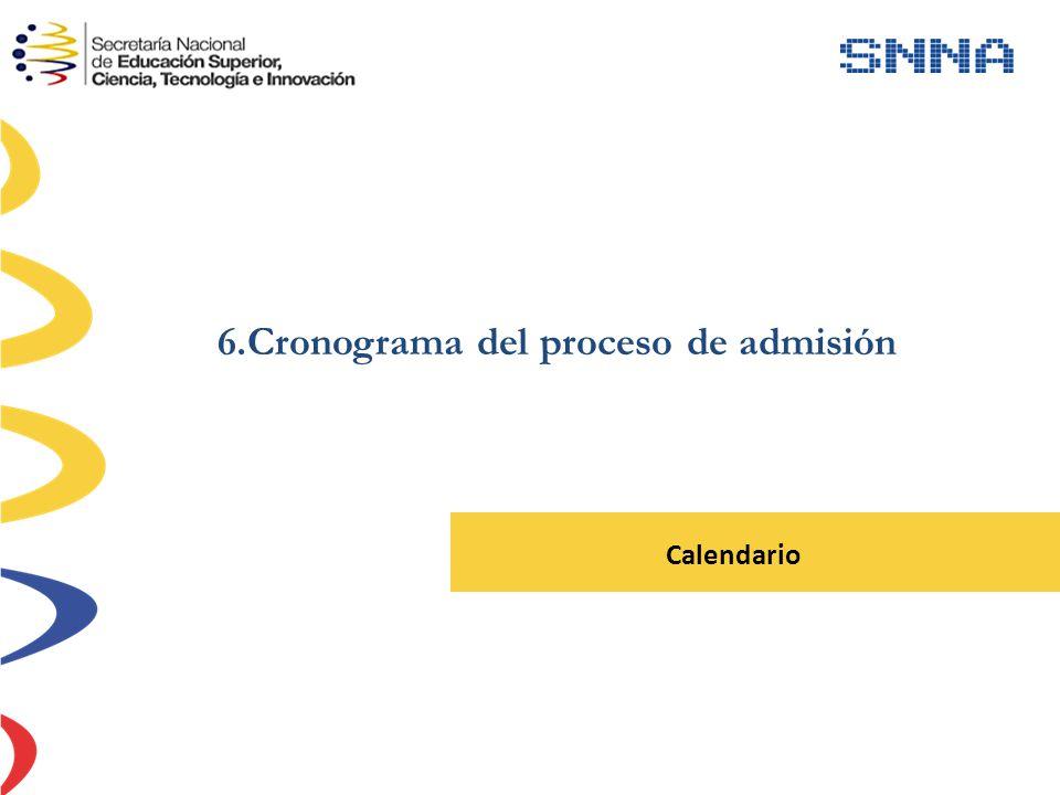 6.Cronograma del proceso de admisión