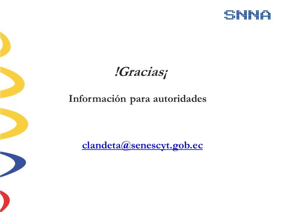 !Gracias¡ Información para autoridades clandeta@senescyt.gob.ec
