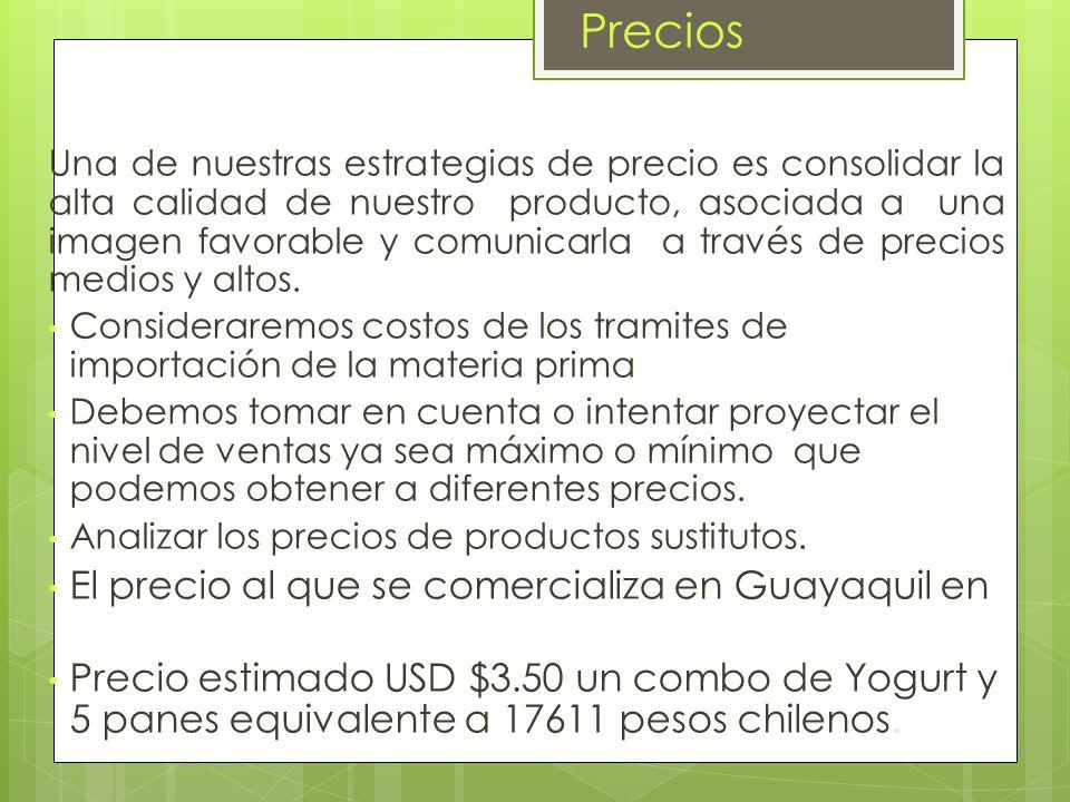 Precios El precio al que se comercializa en Guayaquil en