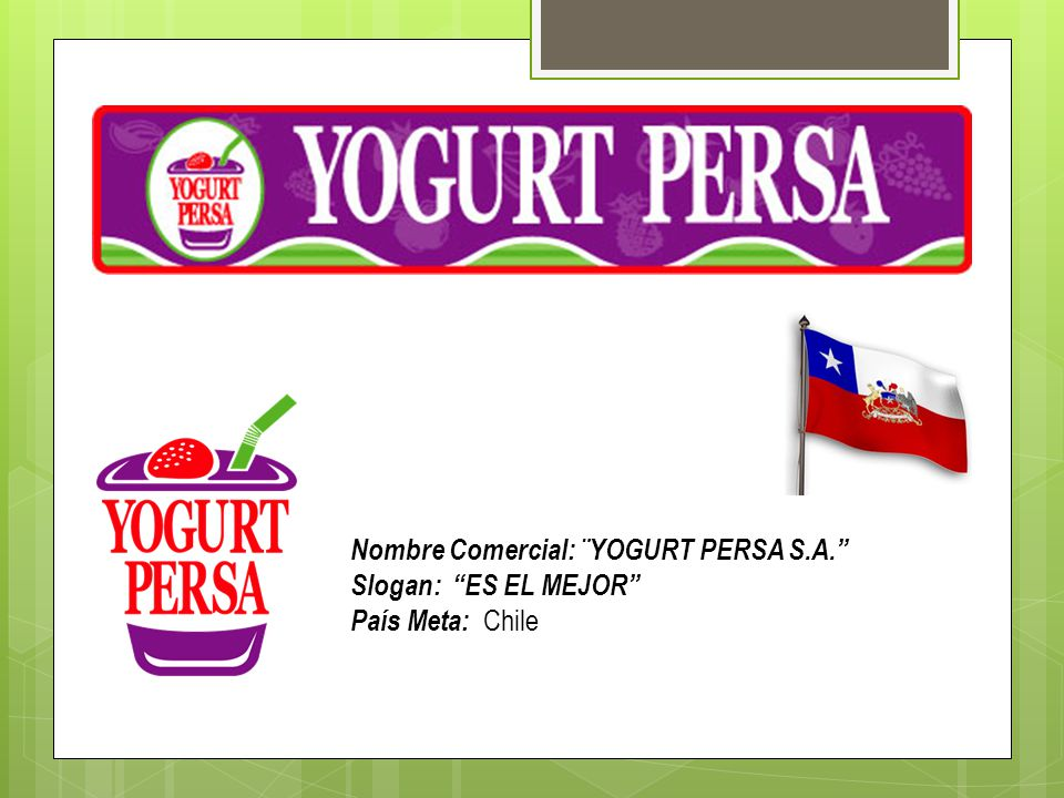 Nombre Comercial: ¨YOGURT PERSA S.A.