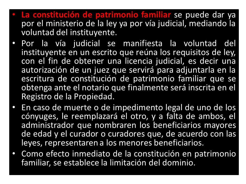 La constitución de patrimonio familiar se puede dar ya por el ministerio de la ley ya por vía judicial, mediando la voluntad del instituyente.