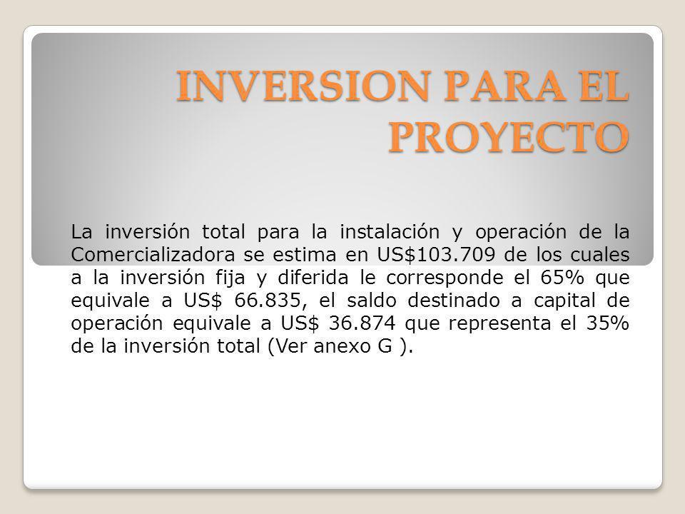 INVERSION PARA EL PROYECTO