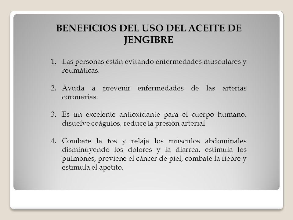 BENEFICIOS DEL USO DEL ACEITE DE JENGIBRE
