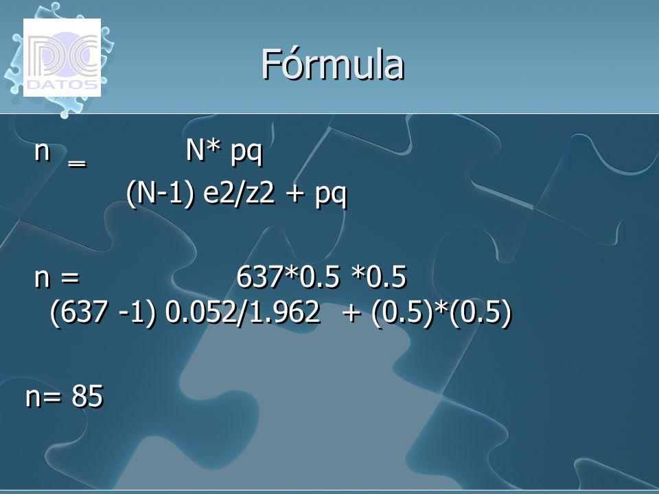 Fórmula n ‗ N* pq (N-1) e2/z2 + pq