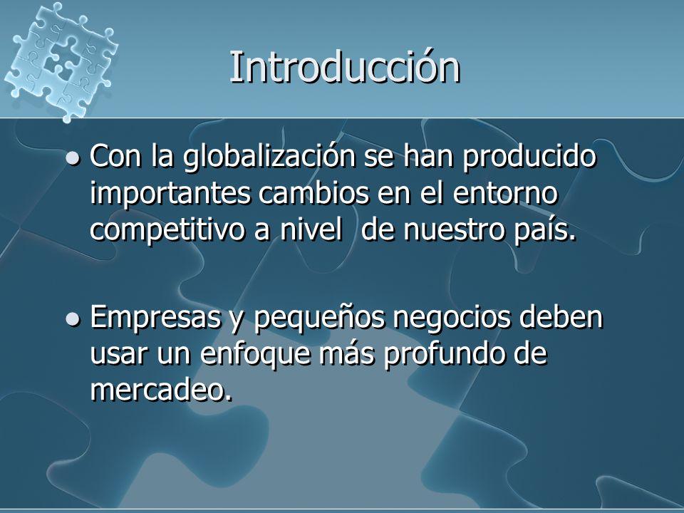 Introducción Con la globalización se han producido importantes cambios en el entorno competitivo a nivel de nuestro país.