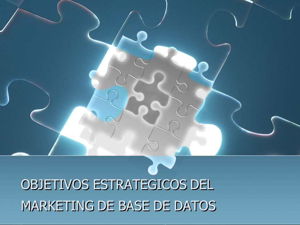OBJETIVOS ESTRATEGICOS DEL MARKETING DE BASE DE DATOS