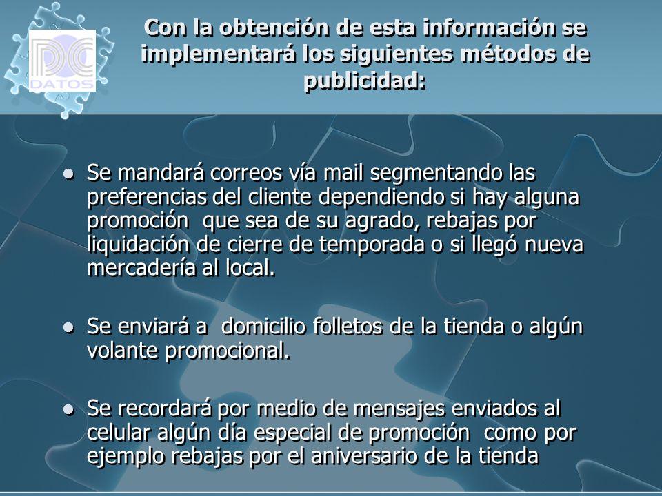 Con la obtención de esta información se implementará los siguientes métodos de publicidad: