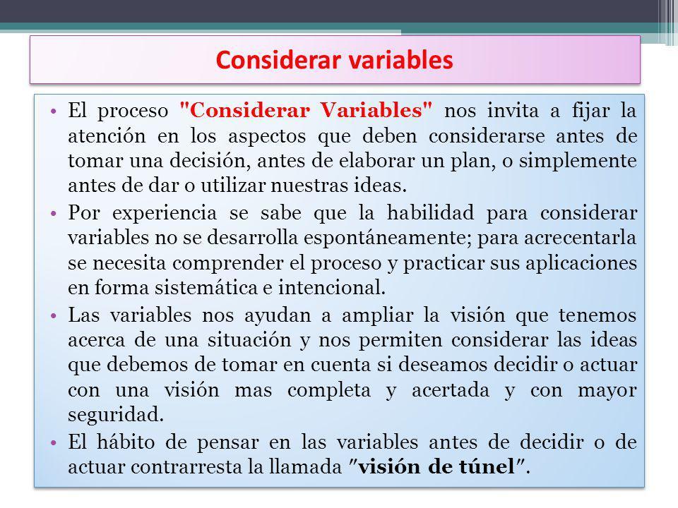Considerar variables