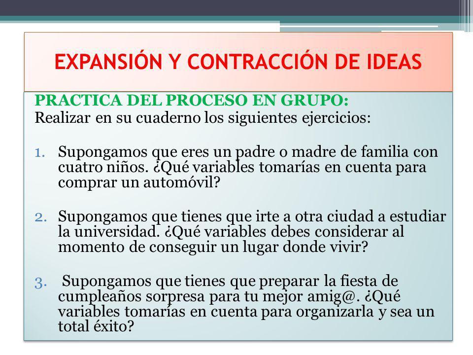 EXPANSIÓN Y CONTRACCIÓN DE IDEAS