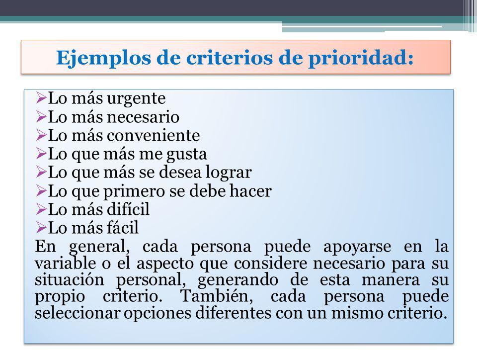 Ejemplos de criterios de prioridad: