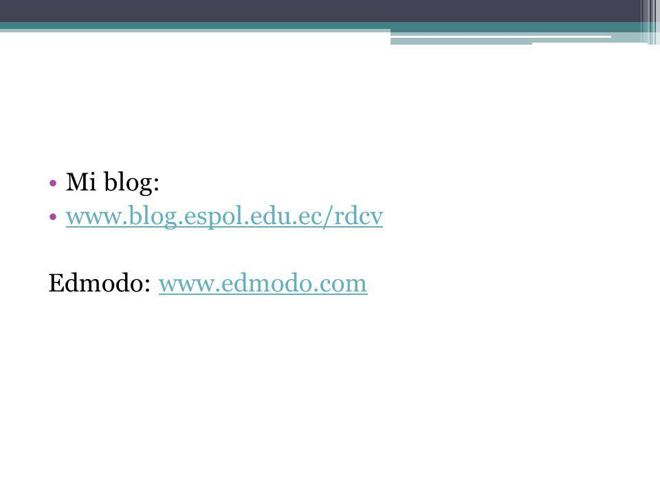 Mi blog: www.blog.espol.edu.ec/rdcv Edmodo: www.edmodo.com
