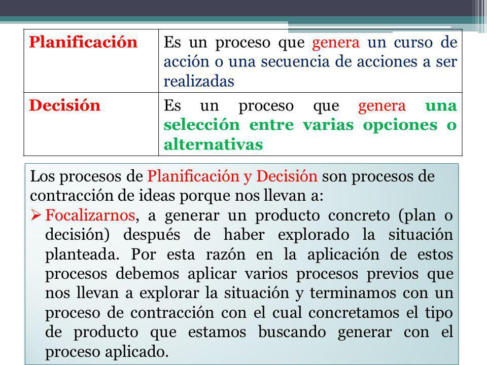 Planificación Es un proceso que genera un curso de acción o una secuencia de acciones a ser realizadas.