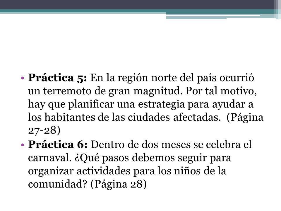 Práctica 5: En la región norte del país ocurrió un terremoto de gran magnitud. Por tal motivo, hay que planificar una estrategia para ayudar a los habitantes de las ciudades afectadas. (Página 27-28)
