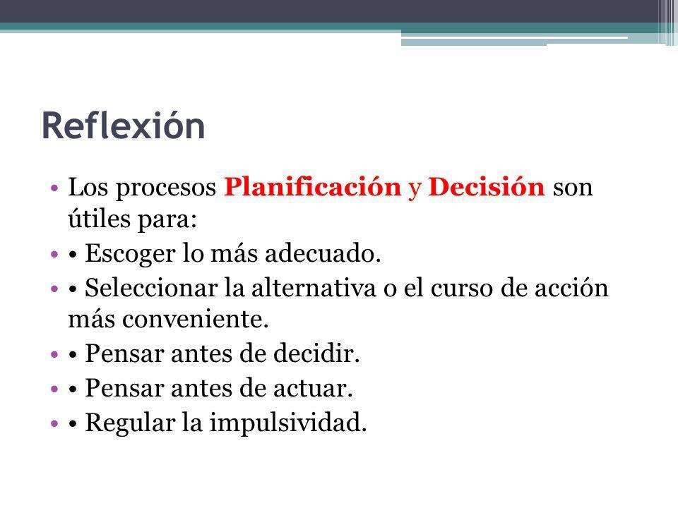 Reflexión Los procesos Planificación y Decisión son útiles para: