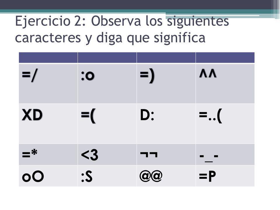 Ejercicio 2: Observa los siguientes caracteres y diga que significa