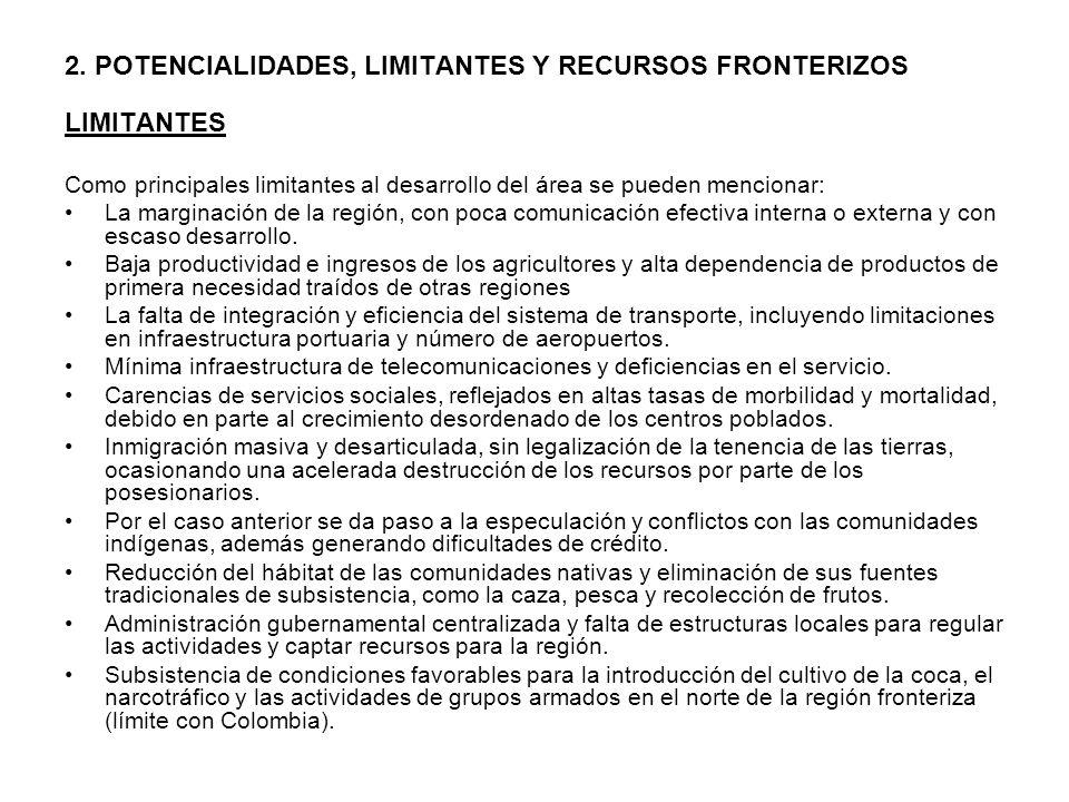 2. POTENCIALIDADES, LIMITANTES Y RECURSOS FRONTERIZOS