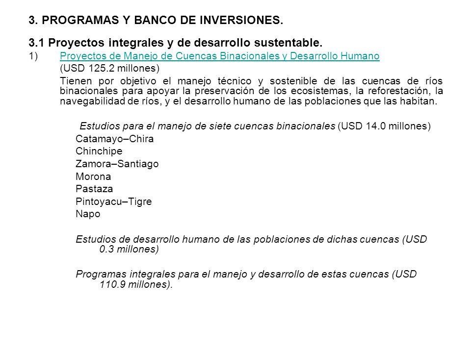 3. PROGRAMAS Y BANCO DE INVERSIONES.