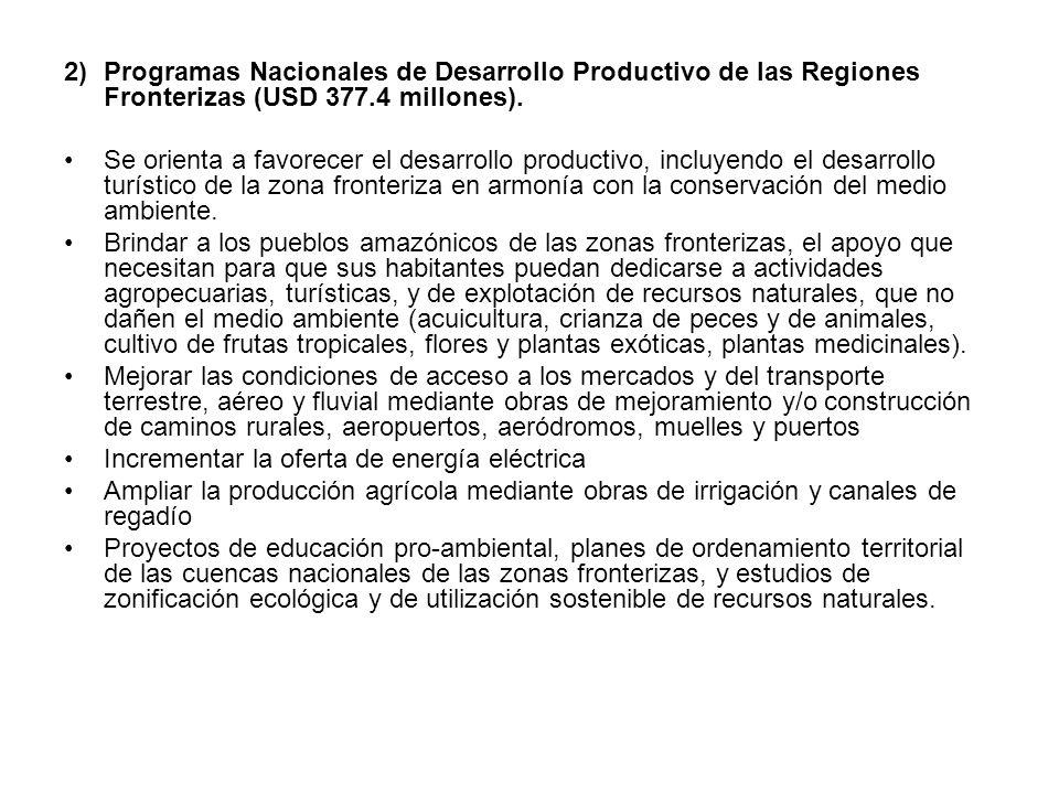 Programas Nacionales de Desarrollo Productivo de las Regiones Fronterizas (USD 377.4 millones).