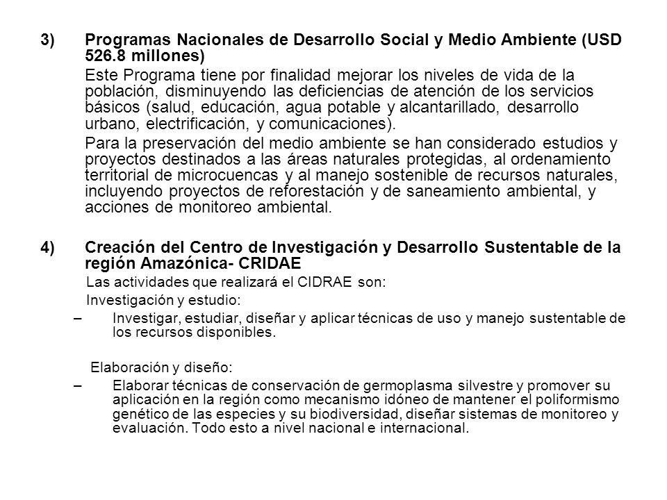 Programas Nacionales de Desarrollo Social y Medio Ambiente (USD 526