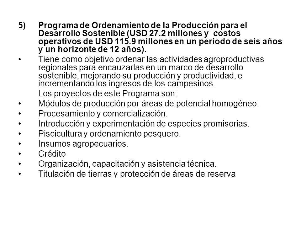 5) Programa de Ordenamiento de la Producción para el Desarrollo Sostenible (USD 27.2 millones y costos operativos de USD 115.9 millones en un período de seis años y un horizonte de 12 años).