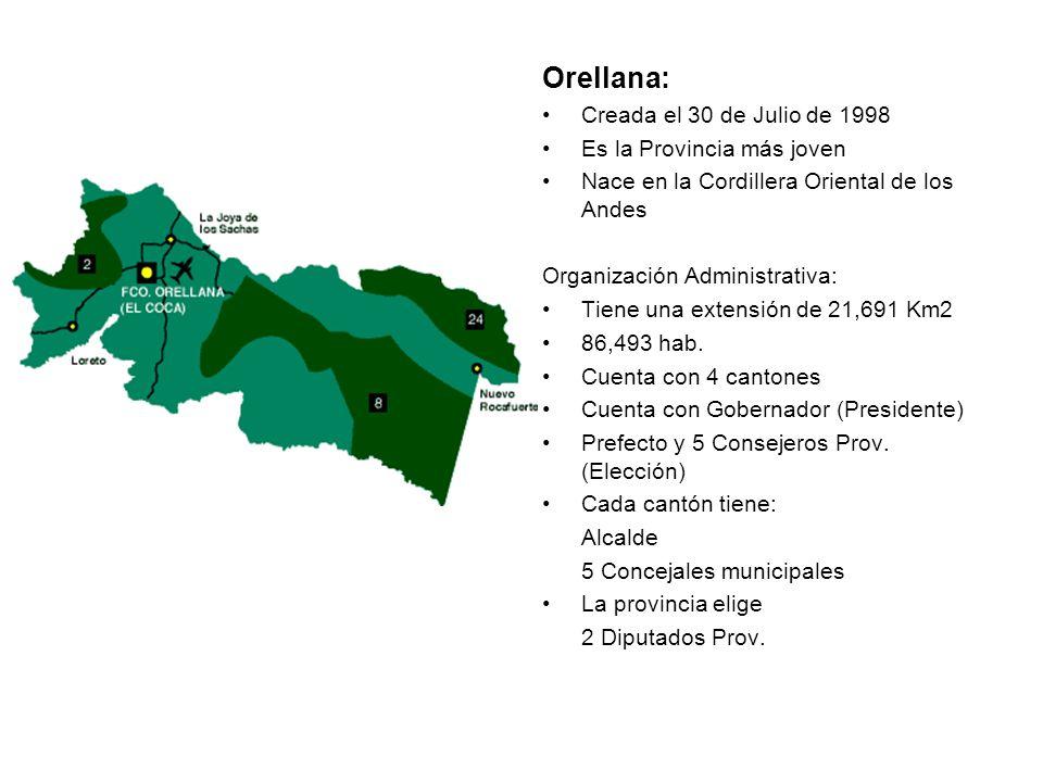 Orellana: Creada el 30 de Julio de 1998 Es la Provincia más joven
