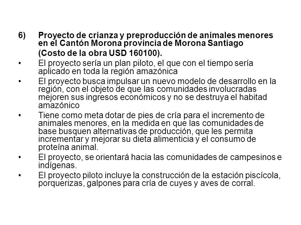 Proyecto de crianza y preproducción de animales menores en el Cantón Morona provincia de Morona Santiago