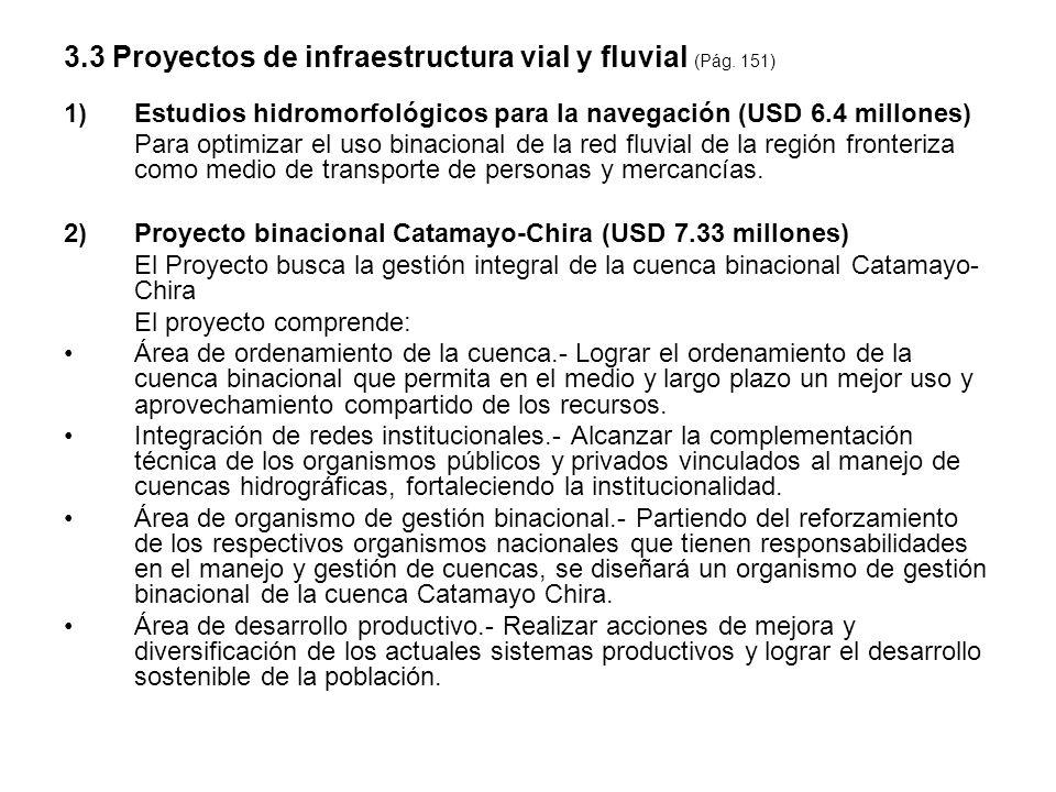 3.3 Proyectos de infraestructura vial y fluvial (Pág. 151)