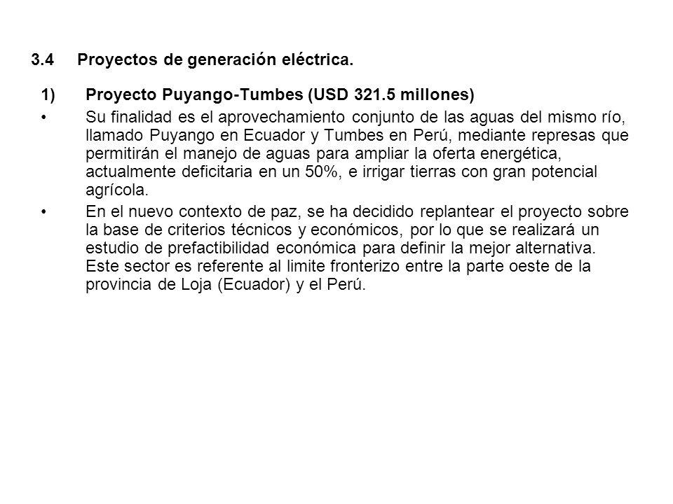 3.4 Proyectos de generación eléctrica.